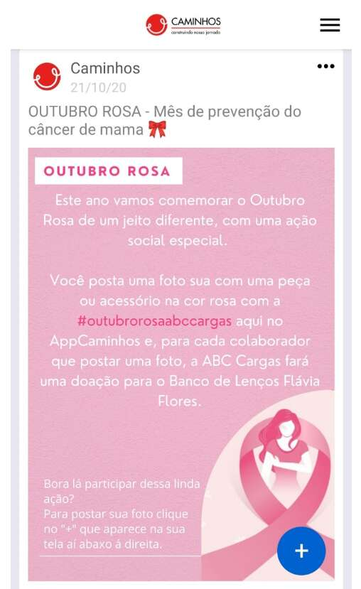 Rede social corporativa da ABC Cargas